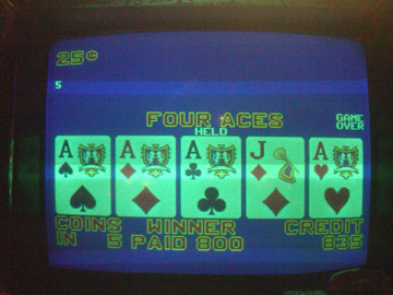 Bob's first quad of the trip, first machine I played...